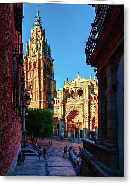 St Mary's Cathedral - Catholic Cathedral In Toledo, Chair Of The Primate Of Spain, The Main Cathedra Greeting Card by George Westermak