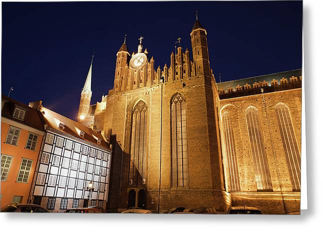 St. Mary's Church At Night In Gdansk Greeting Card by Artur Bogacki