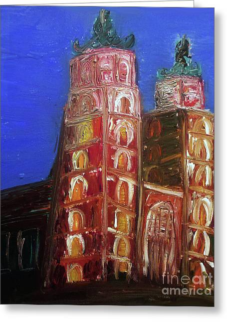 Greeting Card featuring the painting St. Mary's Church Kosciol Marjacki by Ania M Milo