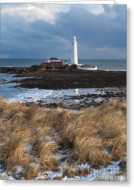 St Mary's Island Winter Greeting Card by Bryan Attewell