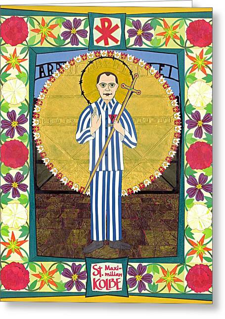 St Maximilian Kolbe Icon Greeting Card by David Raber