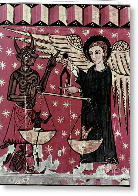 St. Michael Weighing Souls Greeting Card by Granger