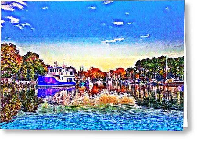 Docked Boats Greeting Cards - St. Michaels Marina Greeting Card by Bill Cannon