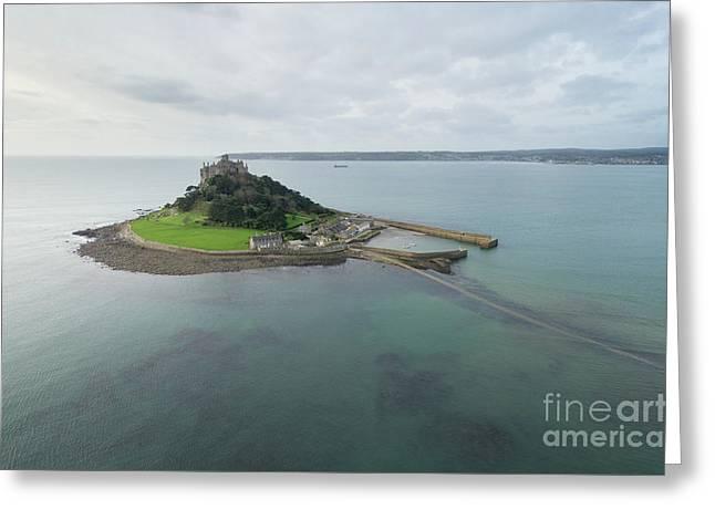 St Michaels Mount Aerial Greeting Card by Steev Stamford
