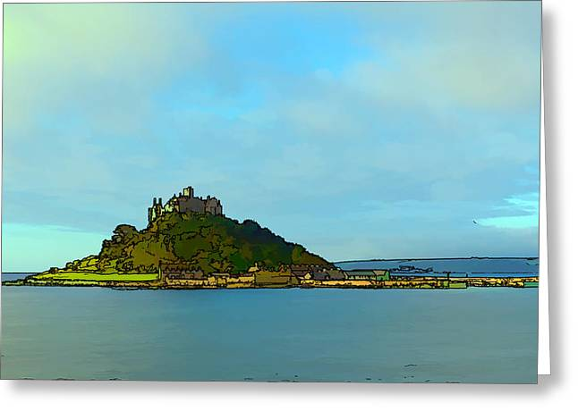 St Michaels Mount Marazion Cornwall England Uk Medieval Castle And Church On Island Bright Colours Greeting Card