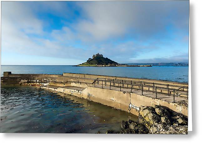 St Michaels Mount With Harbour Wall Cornwall England Uk Medieval Castle And Church On An Island Greeting Card