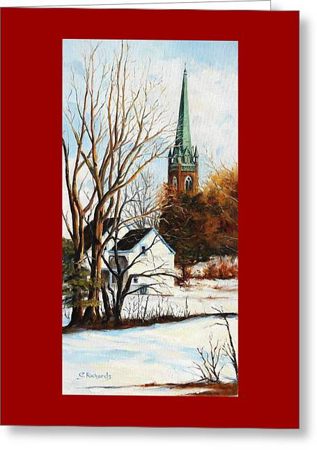 St Michael's Spire In Winter Greeting Card by Cathleen Richards-Green