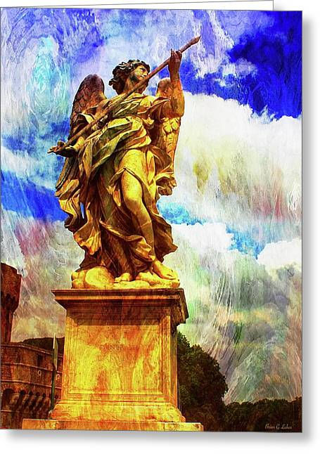 St. Michaels Statue Over The Tiber Bridge In Rome Greeting Card by Brian Lukas