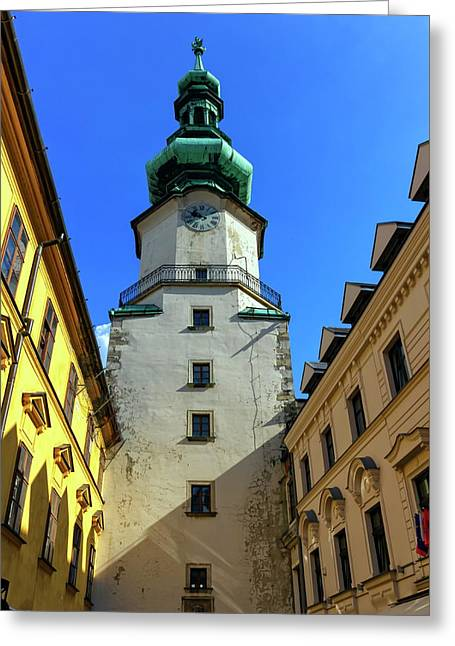 St Michael's Tower In The Old City, Bratislava, Slovakia, Europe Greeting Card by Elenarts - Elena Duvernay photo