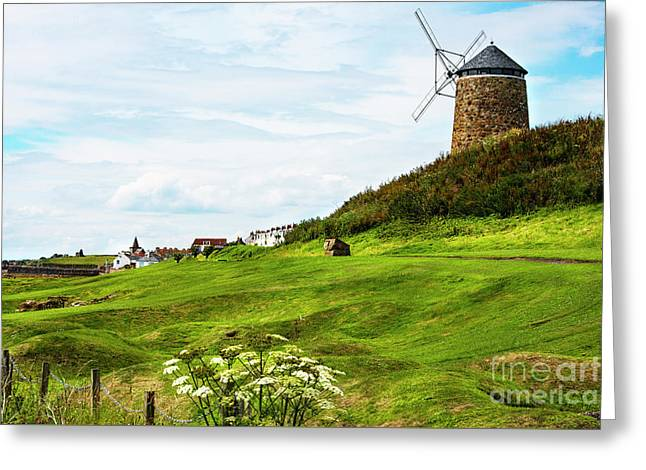 St Monans Windmill Greeting Card by MaryJane Armstrong