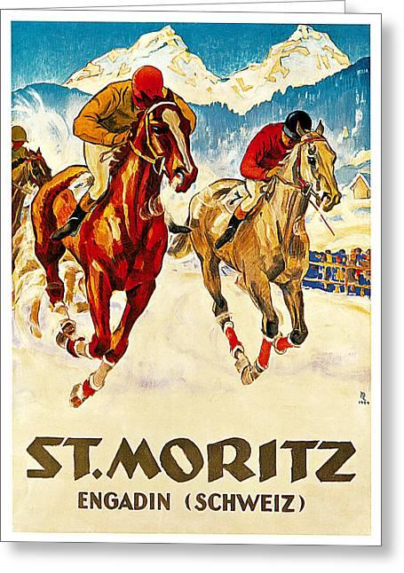 St Moritz Greeting Card by Hugo Laubi