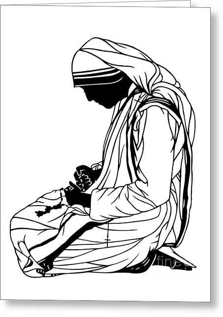 St. Teresa Of Calcutta - Kneeling - Dpte2r Greeting Card
