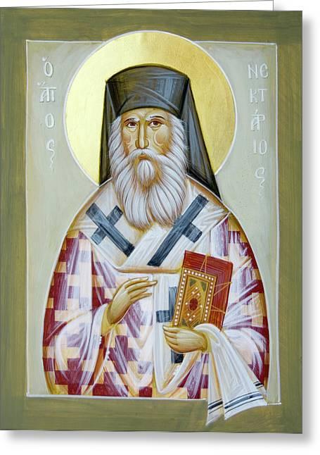 Nektarios Greeting Cards - St Nektarios of Aigina II Greeting Card by Julia Bridget Hayes
