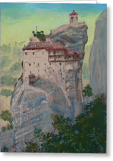 St Nicholas Anapapsas Monastery - Meteora - Greece Greeting Card by Dan Bozich