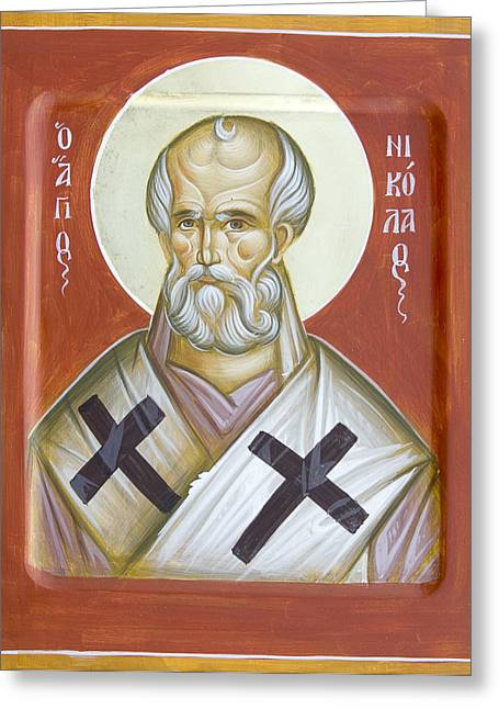 Icon Byzantine Greeting Cards - St Nicholas of Myra Greeting Card by Julia Bridget Hayes