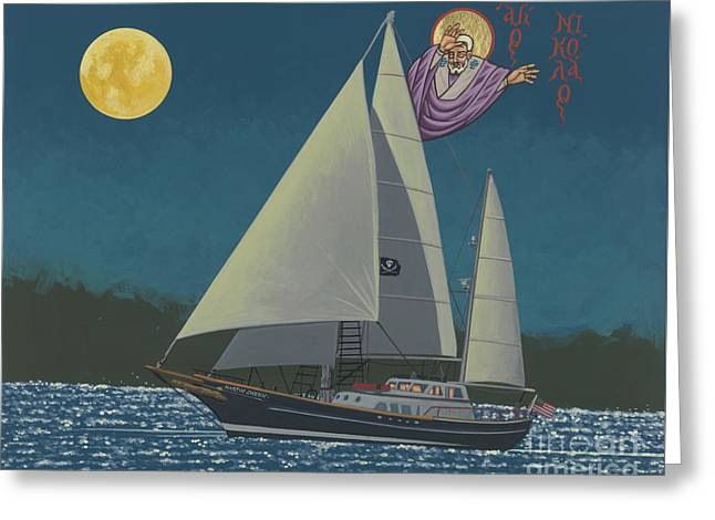 Greeting Card featuring the painting St Nicholas Patron Of Children, Sailors And Sea Shepherds- 296 by William Hart McNichols