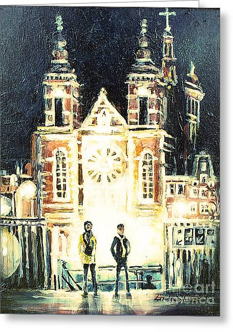Greeting Card featuring the drawing St Nicolaaskerk Church by Linda Shackelford