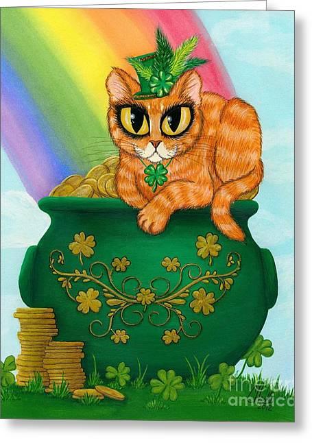 St. Paddy's Day Cat - Orange Tabby Greeting Card