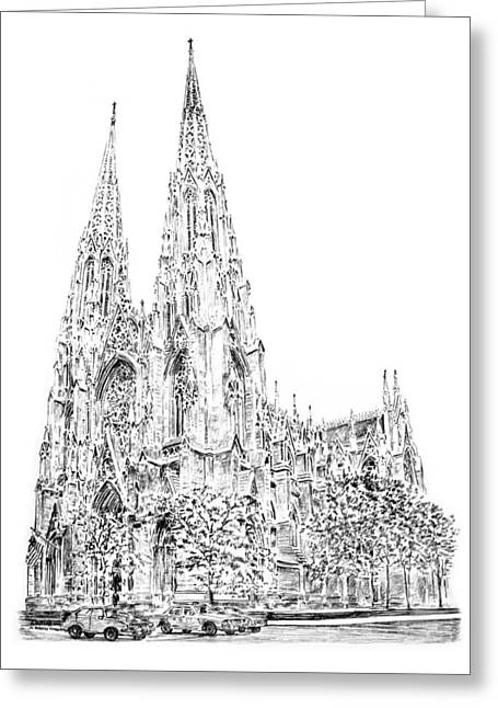 St Patricks Cathedral Greeting Card by Anthony Butera