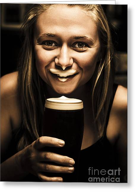 St Patricks Day Woman Imitating An Irish Man Greeting Card by Jorgo Photography - Wall Art Gallery