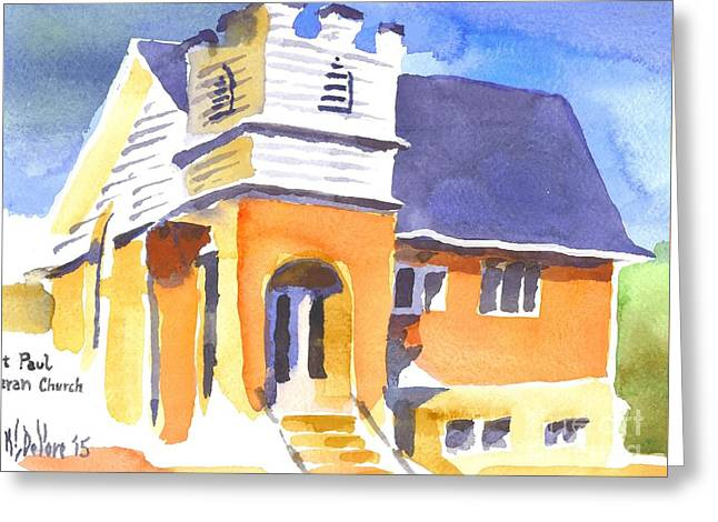 Greeting Card featuring the painting St. Paul Lutheran 3 Impressions by Kip DeVore