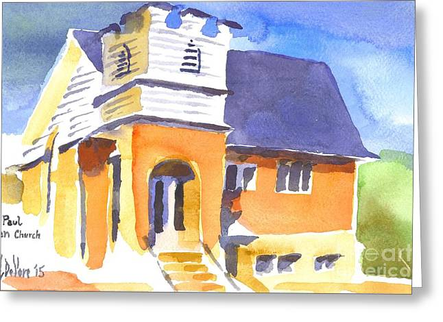 Greeting Card featuring the painting St Paul Lutheran 3 by Kip DeVore