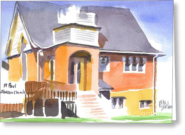 Greeting Card featuring the painting St Paul Lutheran In Watercolor 2 by Kip DeVore