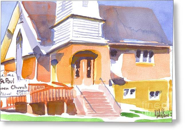 Greeting Card featuring the painting St. Paul Lutheran Ironton Missouri by Kip DeVore