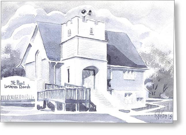Greeting Card featuring the painting St. Paul Lutheran Church 2 by Kip DeVore