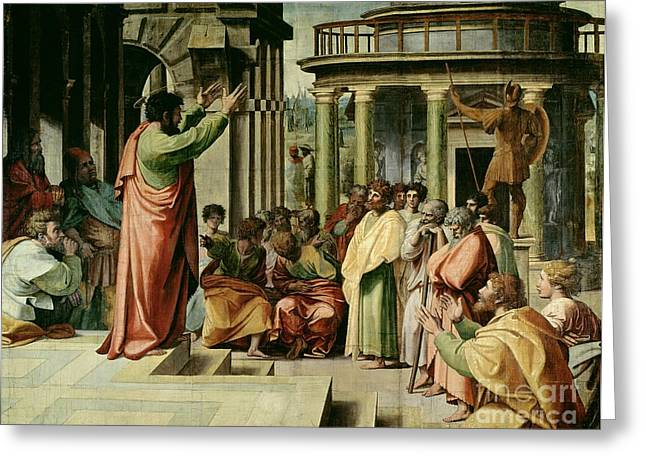 Christian Paintings Greeting Cards - St. Paul Preaching at Athens  Greeting Card by Raphael