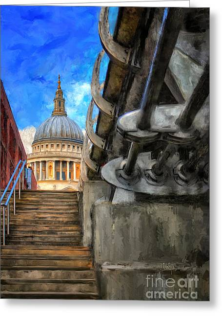 St. Paul's Cathedral And The Millennium Bridge Greeting Card by Lois Bryan