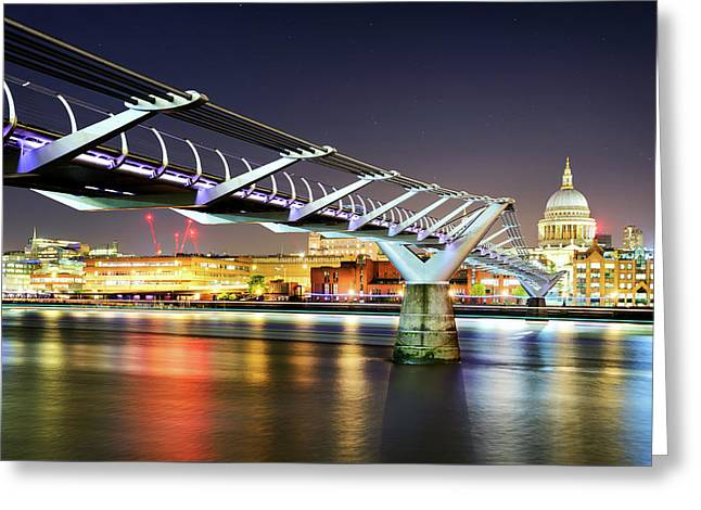 St Paul's Cathedral During Night From The Millennium Bridge Over River Thames, London, United Kingdom. Greeting Card