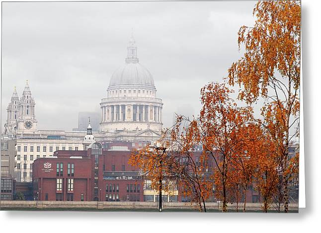 St Pauls Cathedral In The Mist Greeting Card by Gill Billington