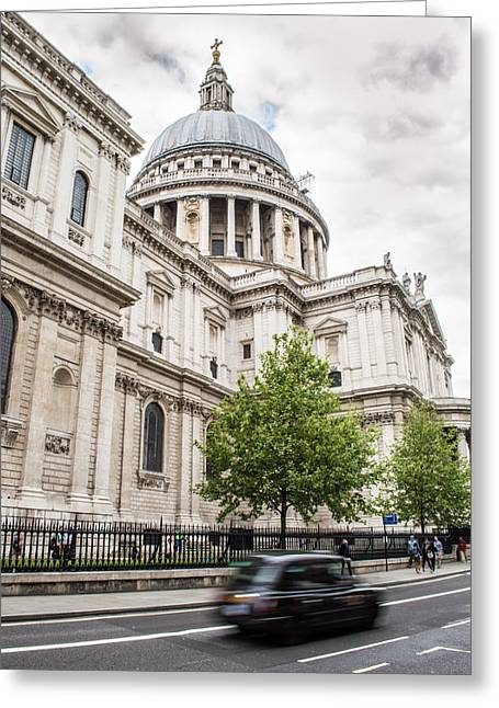 St Pauls Cathedral With Black Taxi Greeting Card