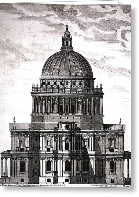 St. Pauls Drawn By Christopher Wren Greeting Card by Wellcome Images