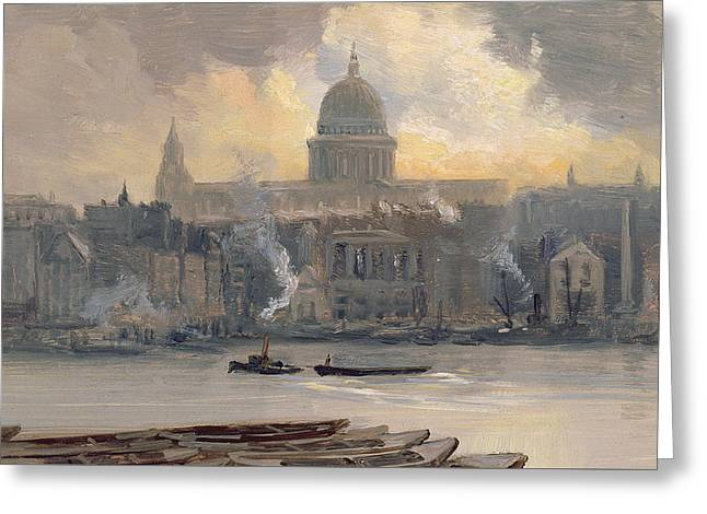 St Paul's From The River Greeting Card by George Hyde Pownall