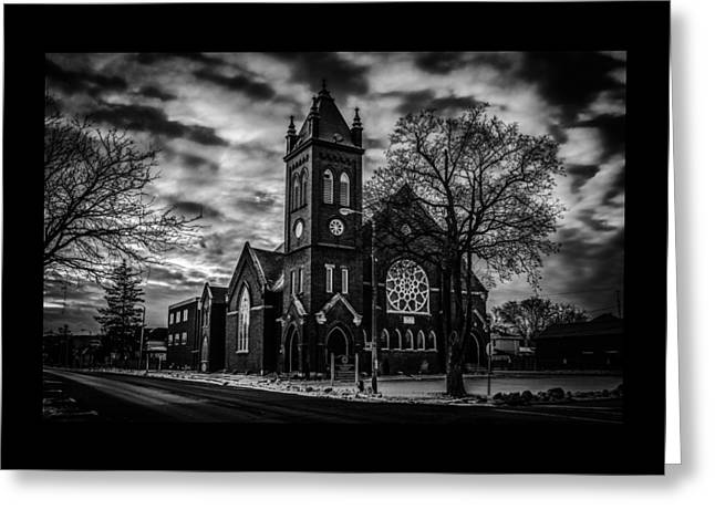 St Pauls United Church Milton  Black And White Greeting Card