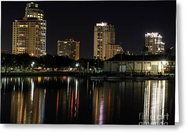 St. Pete At Night Greeting Card