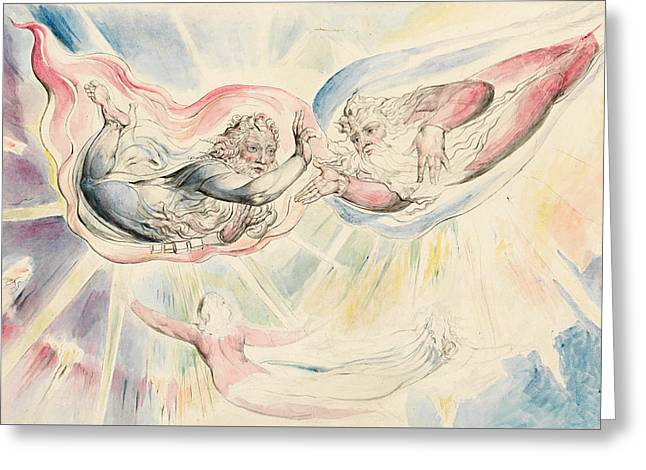 St Peter And St James With Dante And Beatrice Greeting Card by William Blake