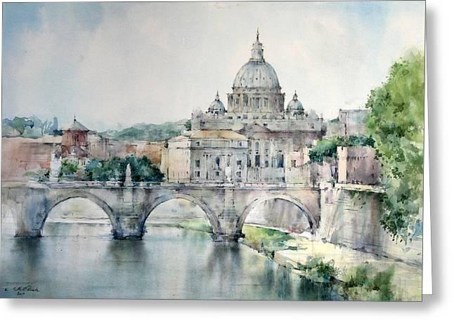 St. Peter Basilica - Rome - Italy Greeting Card by Natalia Eremeyeva Duarte