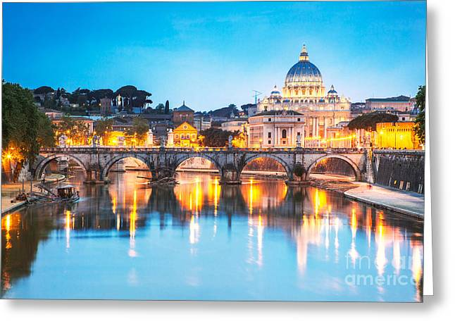 St Peter's Basilica And Bridge Over Tevere At Dusk - Rome Greeting Card