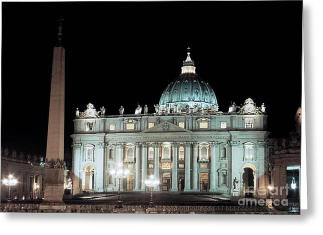 St Peter's Basilica By Night Greeting Card