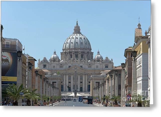 St Peter's Basilica From Via Della Conciliazione Greeting Card by Fabrizio Ruggeri
