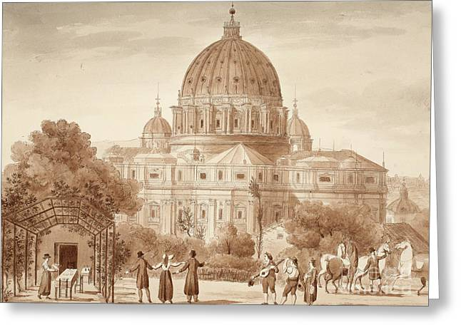 St Peters Seen From A Vineyard, 1833 Greeting Card by Agostino Tofanelli