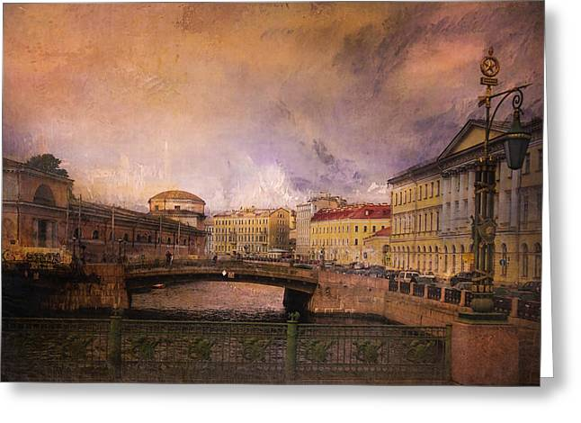 St Petersburg Canal Greeting Card by Jeff Burgess