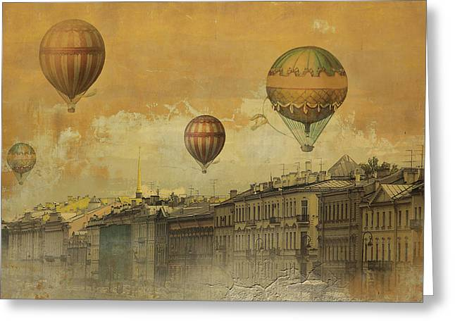 Greeting Card featuring the digital art St Petersburg With Air Baloons by Jeff Burgess