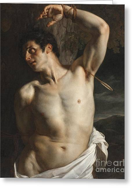 Chest Paintings Greeting Cards - St. Sebastian Greeting Card by Hippolyte Paul Delaroche
