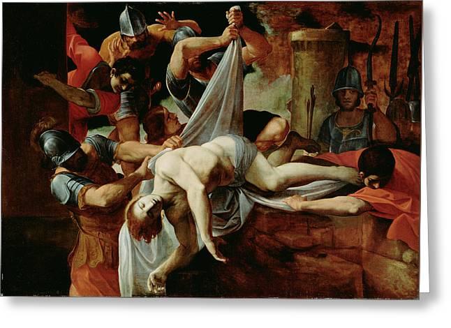St. Sebastian Thrown Into The Cloaca Maxim Greeting Card by Lodovico Carracci