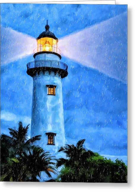 Lights On For You At St. Simons Greeting Card