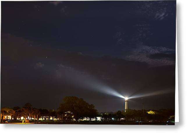 St. Simons Island Lighthouse At Night Greeting Card by Chris Bordeleau